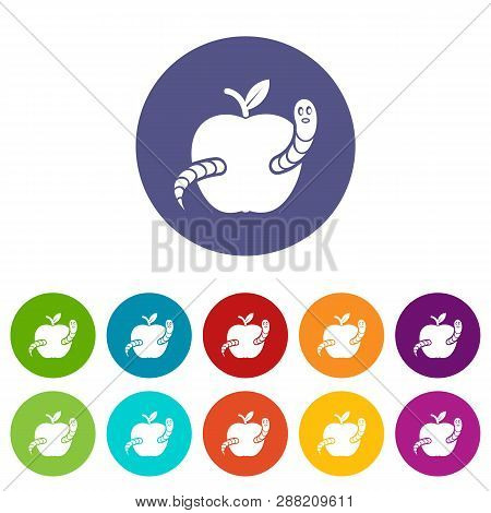 Worm Apple Icons Vector & Photo (Free Trial) | Bigstock