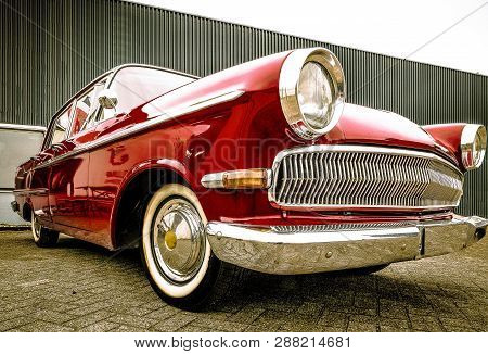 Dronten/netherlands-may 22, 2016: Low Angle View Of A Opel Kapitan At A Classic Car Meeting