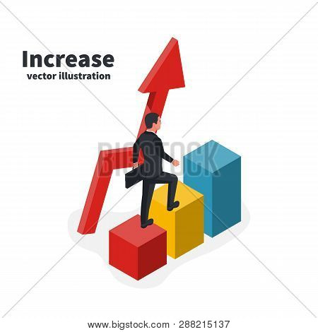 Businessman Goes Up Colored Bar. Business Growing Concept. Graph To Success. Man Goes Step By Step.