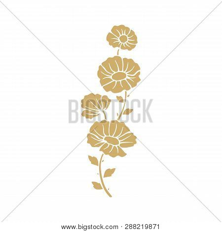 Golden Flower Illustration. Golden Flower, Contour Flower, Bloom Flower, Decorative Flower, Isolate