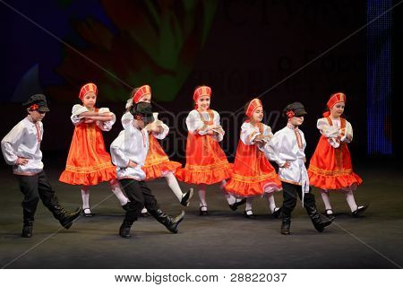 MOSCOW - MARCH 17: Children dance at concert of Gennady Ledyakh School of Classical Dance in theater Et Cetera, on March 17, 2011 in Moscow, Russia. Concert held for winners in competition.