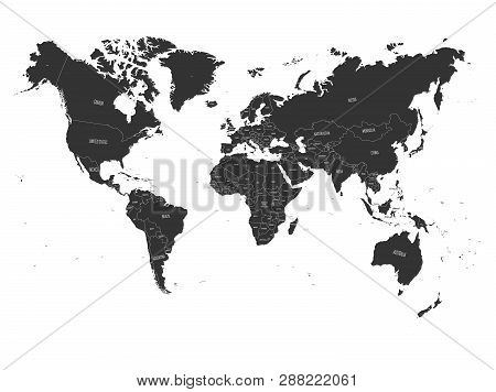 World Map. High Detail Political Map With Country Name Labels. Vector Illustration