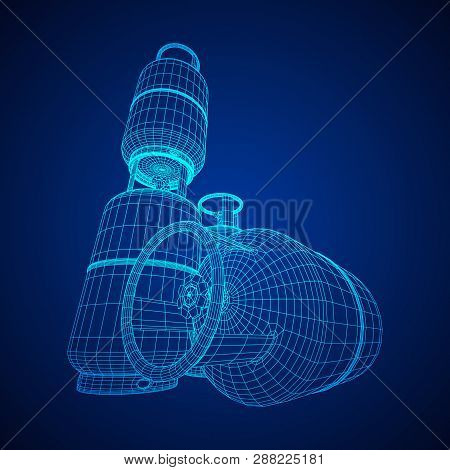 Flammable Gas Tank. Propane, Butane, Methane Gas Tank. Model Wireframe Low Poly Mesh Vector Illustra