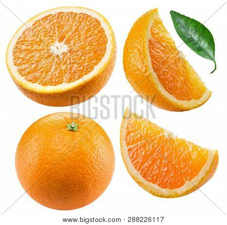 Set of orange fruits and orange slices isolated on white background. File contains clipping path for each item.