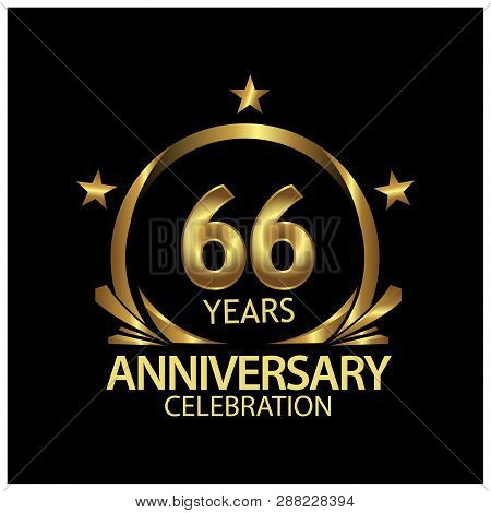 Sixty Six Years Anniversary Golden. Anniversary Template Design For Web, Game ,creative Poster, Book