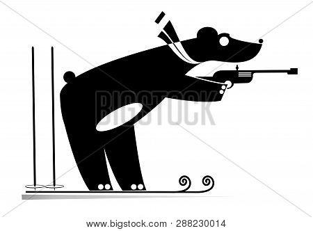 Biathlon Competitor Bear Black On White Illustration. Shooting Biathlon Competitor Cartoon Bear Orig