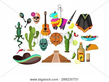 Mexican Attributes Illustration. Cloth, Accessory, National Style. Ethnography Concept. Vector Illus