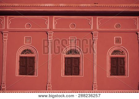 Front View Of Old, Ancient Windows. Traditional Rajasthani Style Windows, Shot At Johari Bazaar, Jai