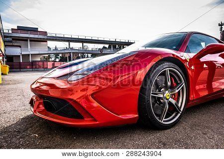 March 2017: Ferrari 458 Supercar Parked At Circuit De Barcelona-catalunya In Barcelona Spain