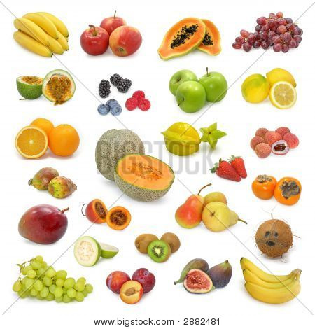 mixed fruits collection isolated on white background poster