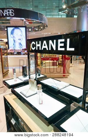 DUBAI, UAE - CIRCA JANUARY, 2019: Chanel perfumes on display in Duty Free at Dubai International Airport.