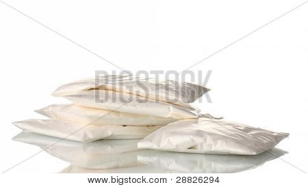Cocaine in packet isolated on white