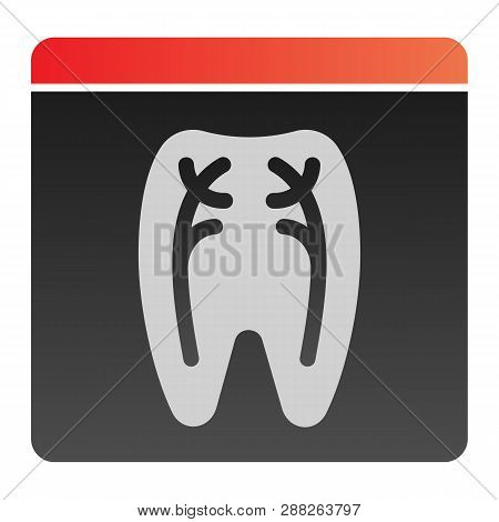 Dental Xray Flat Icon. Tooth Xray Color Icons In Trendy Flat Style. Orthodontic Roentgen Gradient St