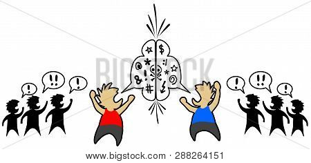 Argument Conflict Two Faction Representatives Clash, Vector Illustration Horizontal, Over White, Iso