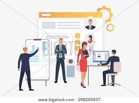 Recruitment Agency, Applicants And Job Interview. Personnel, Hr, Employment Concept, Presentation Sl