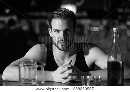 No Work After Drinking. Alcohol Addiction And Bad Habit. Alcohol Addict With Beer Mug. Man Drinker I