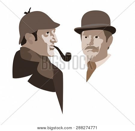 The Heroes Of The Novel By Arthur Conan Doyle. Detective Sherlock Holmes And Dr. Watson. Vector Illu