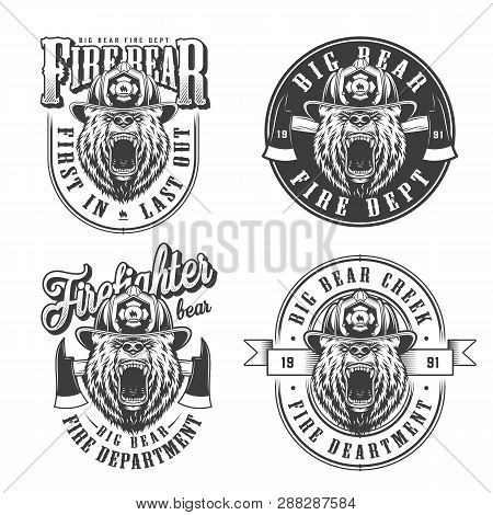 Vintage Monochrome Firefighting Emblems Set With Ferocious Bear Heads In Fireman Helmet And Axes Iso