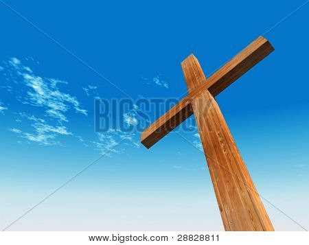 High resolution christian cross made of wood over a beautiful sky background, ideal for holiday, Christmas, Easter and religion designs poster