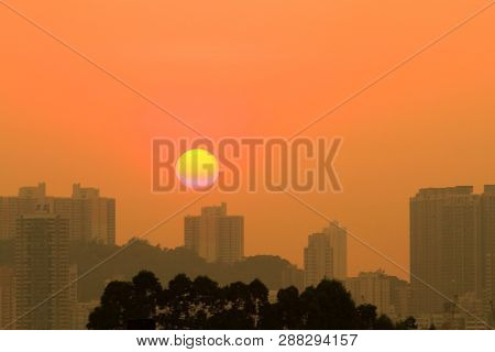 A Sunset View From Kowloon Side At Kwun Tong