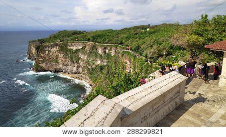 Bali, Indonesia- 14 Feb, 2019: Cliff At Uluwatu Temple Or Pura Luhur Uluwatu. One Of Tourist Attract