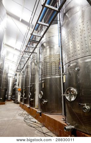 modern winery with big tanks