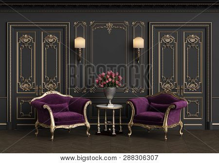 Classic armchairs  and small table with vase of roses in classic interior with copy space.Walls with mouldings,lamps,ornated cornice. Floor parquet herringbone.Classic doors with decoration.Digital Illustration.3d rendering poster