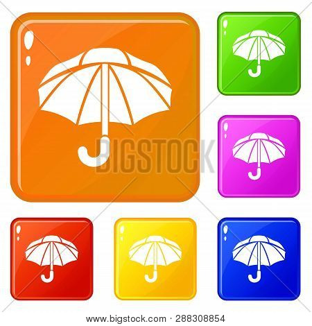 Nylon Umbrella Icons Set Collection Vector 6 Color Isolated On White Background