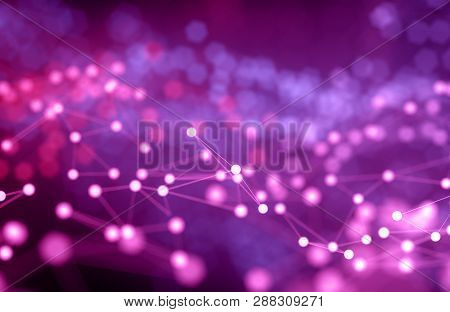 Abstract Futuristic Illustration Of Polygonal Surface Structure And Blury Lights Flow. Low Poly Shap