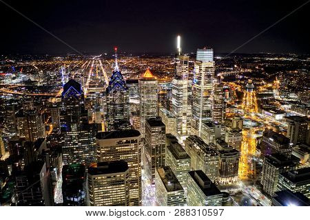 Aerial View Of Center City Philadelphia At Night