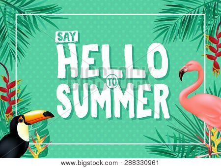 Topical Summer Banner Design With Say Hello To Summer Message In Green Color With Polka Dots Pattern