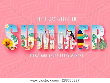 Summer 3d Realistic Stylish Modern Design Banner In Pink Patterned Background With Clipped Tropical