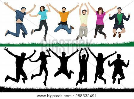 Happy Young People. Group Of People In A Jump. Cheerful Youth In The Air On Trampolines. Friends Are