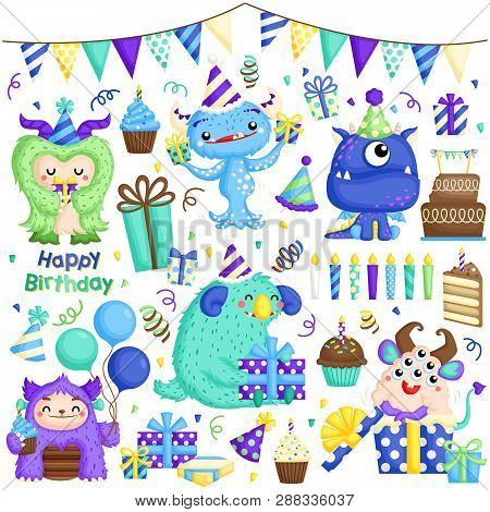 A Vector Set Of Cute Little Monster Celebrating Birthday With Lots Of Gifts And Cakes