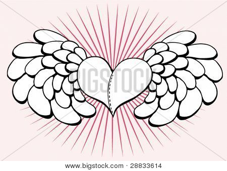 heart with wings and rays