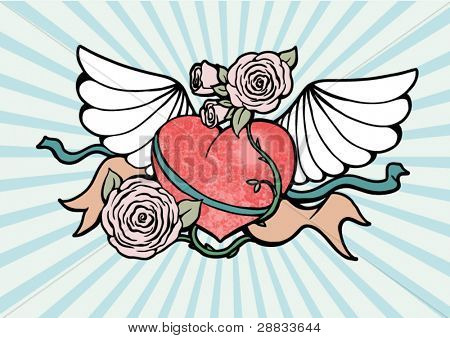 heart with wings and roses