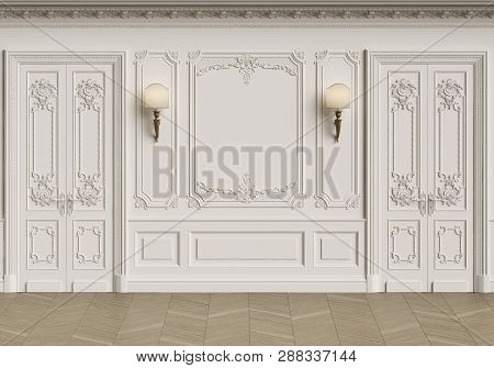Classic Interior With Copy Space.walls With Mouldings,lamps,ornated Cornice. Floor Parquet Herringbo