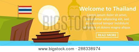 Welcome To Thailand Banner Horizontal Concept. Flat Illustration Of Welcome To Thailand Banner Horiz
