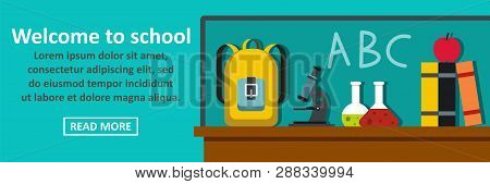 Welcome To School Banner Horizontal Concept. Flat Illustration Of Welcome To School Banner Horizonta