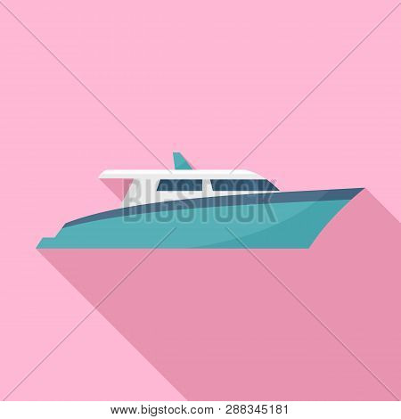 Speed Motor Yacht Icon. Flat Illustration Of Speed Motor Yacht Icon For Web Design