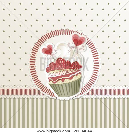 Valentine's card with cupcake and hearts decorations