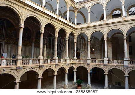 Palermo, Sicily 5 January 2017:  Courtyard Of Palazzo Dei Normanni (palace Of The Normans Palazzo Re