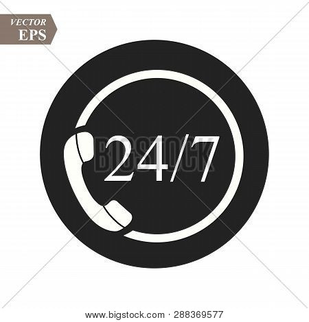 24 Hour Support Call Center Icon. Steady Available Services. Twenty Four Hour Everyday. Can Use For