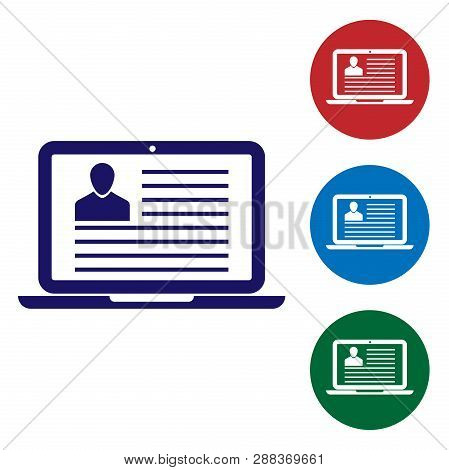 Blue Laptop With Resume Icon Isolated On White Background. Cv Application. Searching Professional St