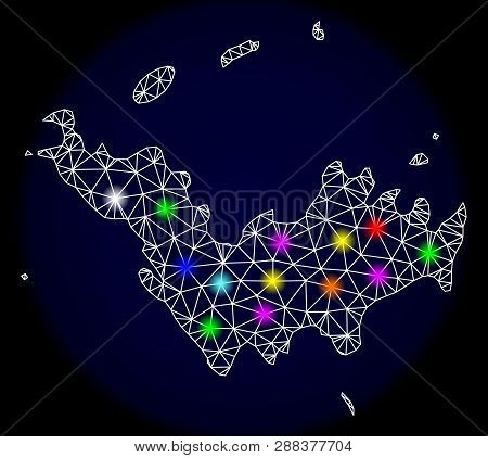 Mesh Vector Map Of Saint Barthelemy With Glare Effect On A Dark Background. Abstract Lines, Triangle