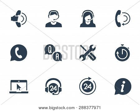 Support Service And Telemarketing Vector Icon Set