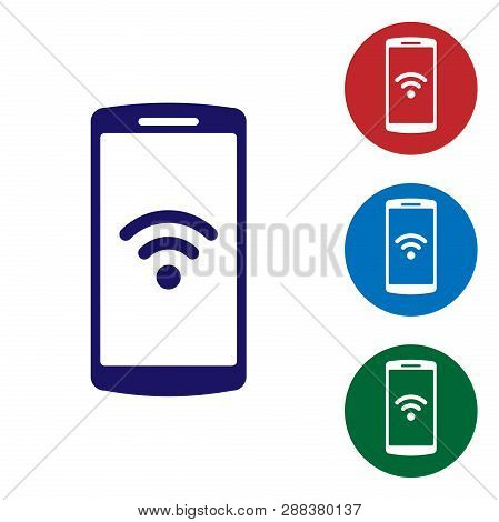Blue Smartphone With Free Wi-fi Wireless Connection Icon On White Background. Wireless Technology, W