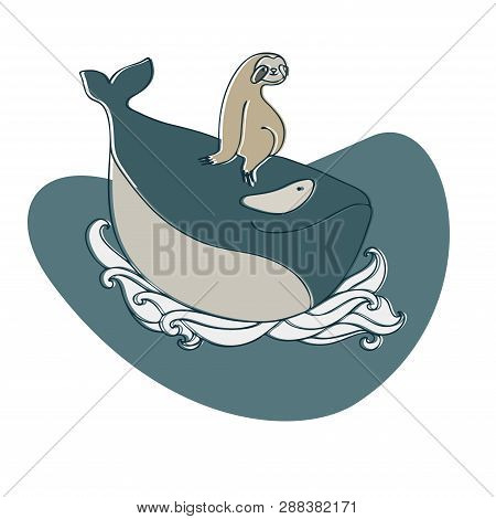 Lenivitz And The Whale. Vector Design With Stylized Animals. Can Be Used For Printing On Paper, Stic