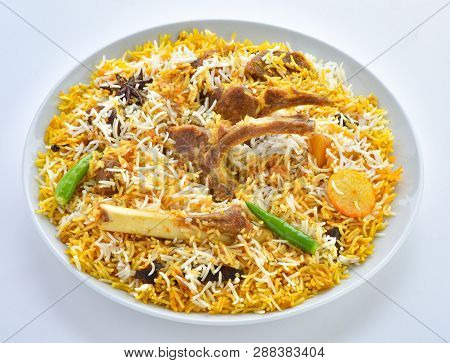 Mutton Biryani. A Delecious Light Spicy Rice Dish With Marinated Mutton Meat.