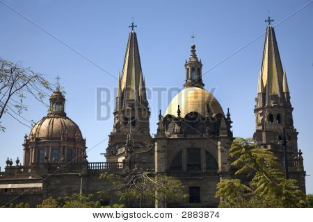 Guadalajara Cathedral Overview Two Domes Two Spires